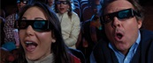 Couple watching a 3D movie in a theater