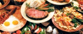 Feast buffet shows off a wide variety of food including prime rib, breakfast, and international cusine