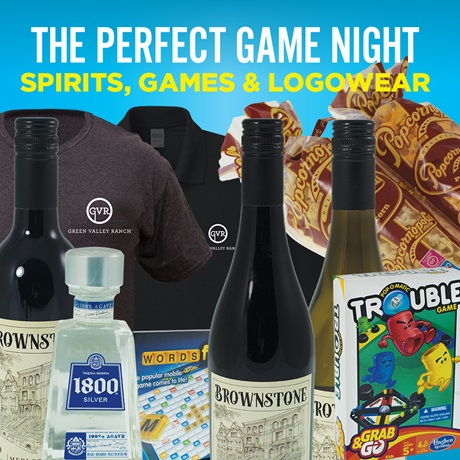 The Perfect Game Night gifts: popcorn, games, wine, logo wear
