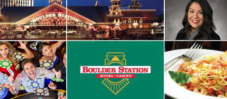 Boulder Station hotel, Boulder Station logo, people celebrating in a casino, woman, plate of pasta