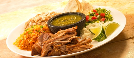 Shredded beef, beans, rice and tortillas with garnish from Cabo Mexican Restaurant