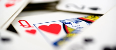 Queen of hearts in a muck of cards